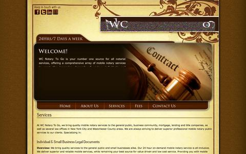 Screenshot of Services Page wcnotarytogo.com - WC Notary To Go - Mobile Notary Services for New York City and Westchester County Areas - captured Oct. 26, 2014