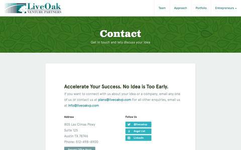Screenshot of Contact Page liveoakvp.com - LiveOak Venture Partners -   Contact - captured Oct. 3, 2014