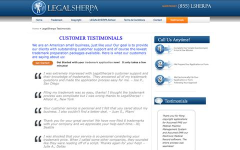 Screenshot of Testimonials Page legal-sherpa.com - Low Cost Trademarks I LegalSherpa Customer Testimonials - captured June 30, 2017