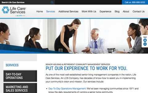 Screenshot of Services Page senior-living-management.com - Management Services | Senior Living Management Services - captured May 1, 2017
