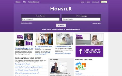 Screenshot of Home Page monster.ca - Find Jobs. Build a Better Career.  Find Your Calling. | Monster.ca - captured Jan. 22, 2015