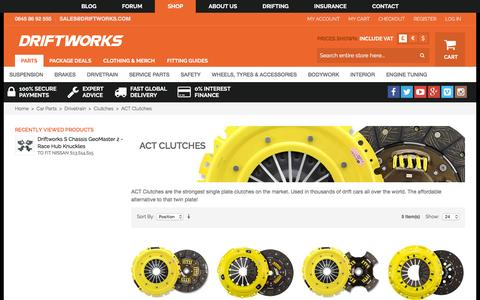 Screenshot of driftworks.com - ACT Clutches by Driftworks.com, the ACT Clutches experts. - captured March 19, 2016