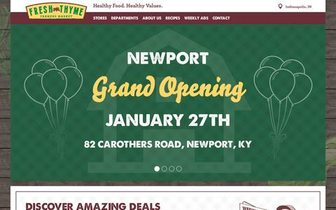 Screenshot of Home Page freshthyme.com - Fresh Thyme Farmer's Market Natural, Organic Grocery Store - captured Jan. 27, 2016