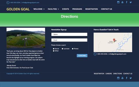Screenshot of Maps & Directions Page goldengoalpark.com - Directions | Golden Goal - captured Sept. 30, 2014