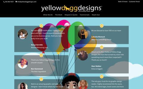 Screenshot of Testimonials Page yellowdoggdesigns.com - Testimonials | Yellow Dogg Designs - captured Dec. 11, 2018