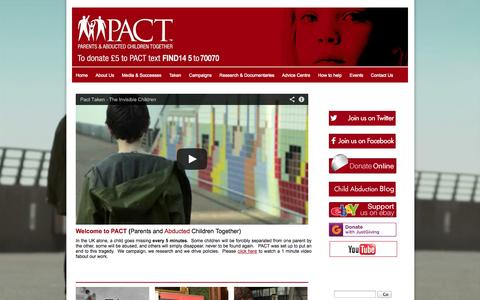 Screenshot of Home Page pact-online.org - PACT - Parents and Abducted Children Together | Home - captured Oct. 1, 2014