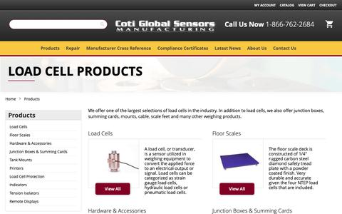 Screenshot of Products Page cotiglobal.com - Single Ended Beams - Load Cell Types | Coti Global - captured Oct. 25, 2018
