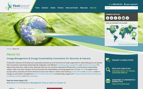 Screenshot of About Page firstcarbonsolutions.com - Energy Management & Sustainability Consultants - captured Oct. 10, 2014