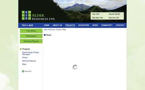 Screenshot of Maps & Directions Page alderresources.ca - Alder Resources Ltd. - Projects - Maps - captured Sept. 30, 2014