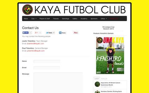 Screenshot of Contact Page kayafc.com - Contact Us | Kaya Futbol Club - captured Nov. 3, 2014