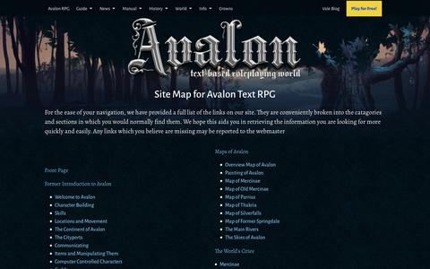Screenshot of Site Map Page avalon-rpg.com - Sitemap | Text RPG - captured Oct. 4, 2018