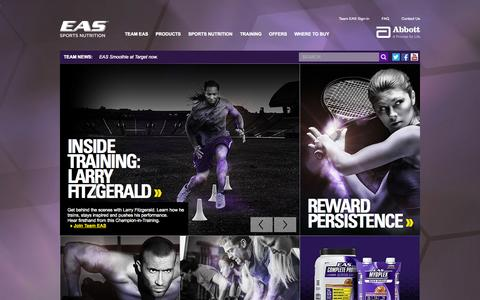 Screenshot of Home Page eas.com - EAS  | Science Based Performance Nutrition Products and Supplements - captured Sept. 19, 2014