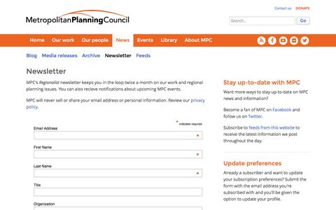 Screenshot of Signup Page metroplanning.org - Newsletter - Metropolitan Planning Council - captured Feb. 13, 2016
