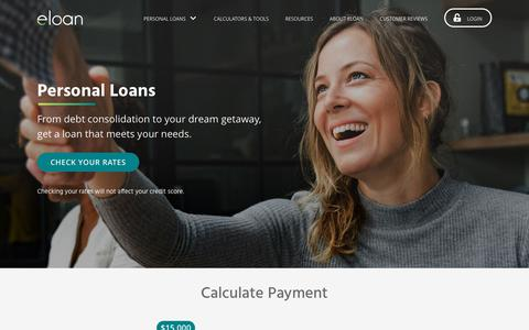 Screenshot of Home Page eloan.com - Eloan - Find a Personal Loan - Debt Consolidation Online - captured Aug. 10, 2019