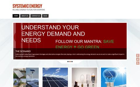 Screenshot of Home Page systemicenergy.in - Systemic Energy | Reliable Energy Future for Everyone - captured Sept. 30, 2014