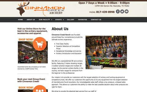 Screenshot of About Page cinnamoncreekranch.com - Cinnamon Creek Ranch Archery Facility and Staff - captured Jan. 28, 2016