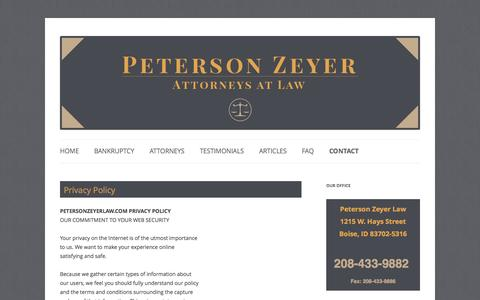 Screenshot of Privacy Page petersonzeyerlaw.com - Privacy Policy | Peterson Zeyer Law - captured Sept. 29, 2014