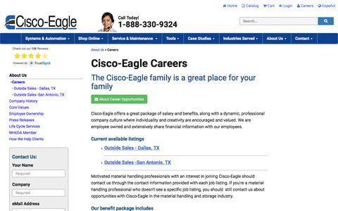 Screenshot of Jobs Page cisco-eagle.com - Careers at Cisco-Eagle - Material Handling Jobs - captured June 27, 2019