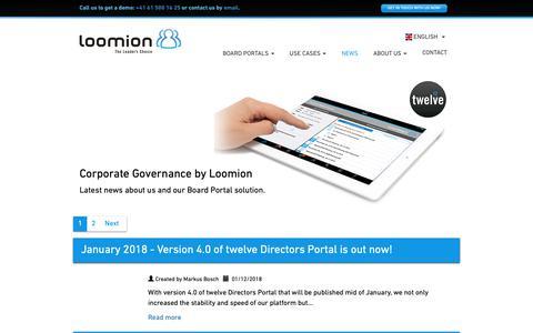 Screenshot of Press Page loomion.com - Loomion > Board Room, Board Portal solutions, Board App - captured Sept. 30, 2018