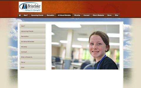 Screenshot of About Page briarlakechurch.org - About Briarlake - captured Oct. 27, 2014