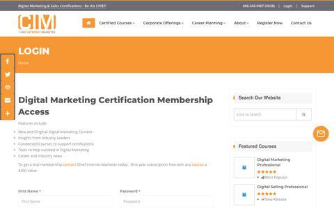 Screenshot of Login Page chiefinternetmarketer.com - Digital Marketer Membership Login | Chief Internet Marketer - captured Dec. 8, 2018