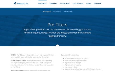 Screenshot of Products Page eaglefilters.fi - Pre-Filters | Eagle Filters - captured Sept. 26, 2018