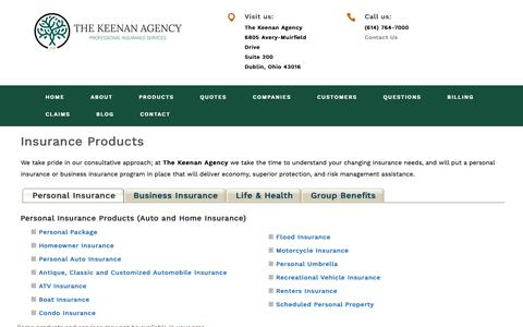 Screenshot of Products Page keenanins.com - Insurance Products - The Keenan Agency - Dublin, Ohio 43016 - captured Oct. 18, 2018