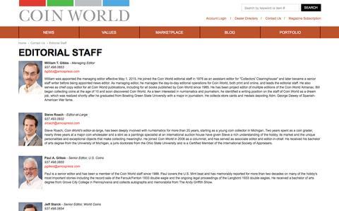 Screenshot of Contact Page coinworld.com - Editorial Staff - captured Dec. 10, 2015