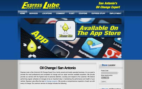 Screenshot of Home Page expresslube.com - Oil Change San Antonio | Express Lube - captured Oct. 3, 2014