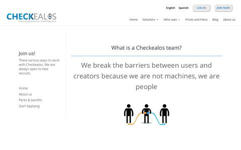 Screenshot of Jobs Page checkealos.com - We are hiring. - Checkealos.com - captured July 17, 2018
