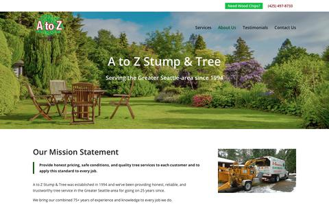 Screenshot of About Page atoztrees.com - About Us   A to Z Stump & Tree - captured Sept. 29, 2018