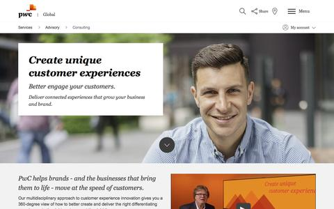 Screenshot of Services Page pwc.com - Create unique customer experiences: Consulting: Advisory: Services: PwC - captured March 21, 2018