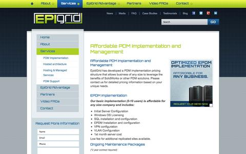 Screenshot of Pricing Page epigrid.com - Affordable PDM Implementation and Management - captured Oct. 22, 2014