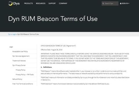 Screenshot of Terms Page dyn.com - Dyn RUM Beacon Terms of Use - Dyn - captured Feb. 10, 2017