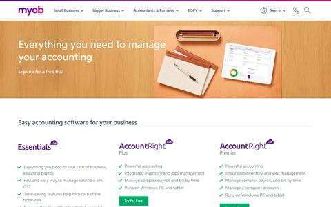 Screenshot of Trial Page myob.com - Free Accounting Software Trial Download | MYOB - captured Oct. 29, 2016