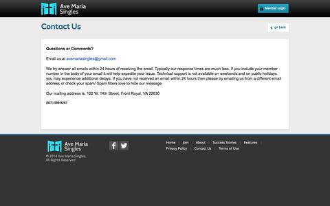 Screenshot of Contact Page avemariasingles.com - where devout Catholics find their match - captured Sept. 30, 2014