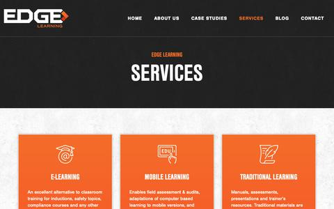 Screenshot of Services Page edgelearning.com.au - Services by Edge Learning - captured Sept. 27, 2018