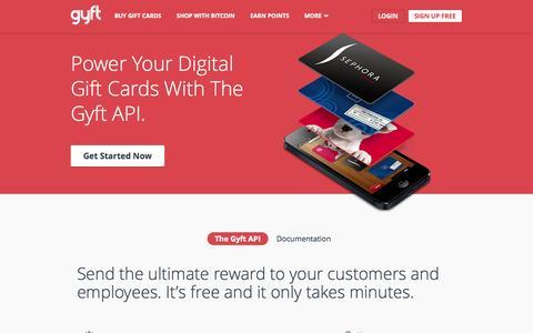 Screenshot of Developers Page gyft.com - Developers - Gyft | Free eGift Card App | Buy Gift Cards - captured Sept. 16, 2014