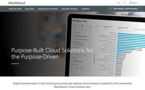 Screenshot of Developers Page blackbaud.com - Our Cloud Solutions | Blackbaud - captured Dec. 20, 2018