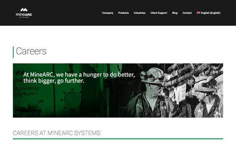 Screenshot of Jobs Page minearc.com - Careers at MineARC • MineARC Systems - captured Nov. 15, 2018