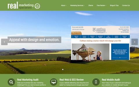 Screenshot of Home Page real-m.com - Marketing Consultants Edinburgh - Real Marketing Specialists - captured Sept. 2, 2015