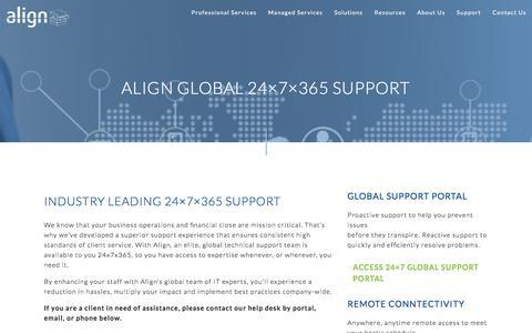 Screenshot of Support Page align.com - Global Support 24 H - captured July 29, 2018