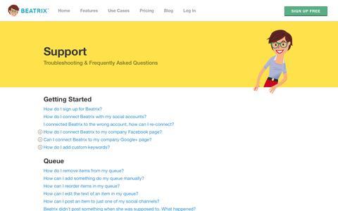 Screenshot of Support Page beatrixapp.com - Support | Beatrix - captured Sept. 22, 2014