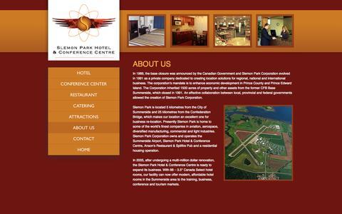 Screenshot of About Page slemonparkhotel.com - Hotel Summerside   Slemon Park Hotel   About Us - captured Oct. 26, 2014