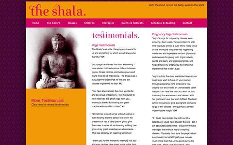 Screenshot of Testimonials Page theshala.co.uk - Yoga Reviews, Testimonials | South London | The Shala Yoga & Pilates Centre - captured Sept. 30, 2014