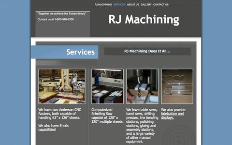 Screenshot of Services Page rjmachining.com - CNC routers, plastic machining, computerized schelling saws, and more! - captured Oct. 26, 2014