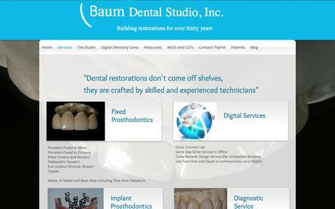 Screenshot of Services Page baumdental.com - Baum Dental Studio Restorations,Services - captured Nov. 22, 2016