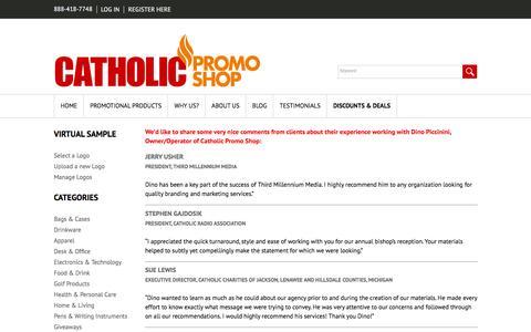 Screenshot of Testimonials Page catholicpromoshop.com - Testimonials | Catholic Promo Shop | Reviews | Feedback - captured Feb. 16, 2016