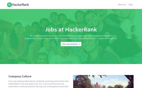 Screenshot of Jobs Page hackerrank.com - Programming problems and Competitions :: HackerRank - captured July 19, 2014