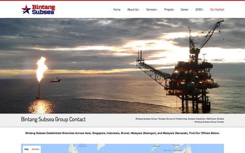 Screenshot of Contact Page bintangsubsea.com - Bintang Subsea Group Contact - Your Reliable Partner - captured July 29, 2016